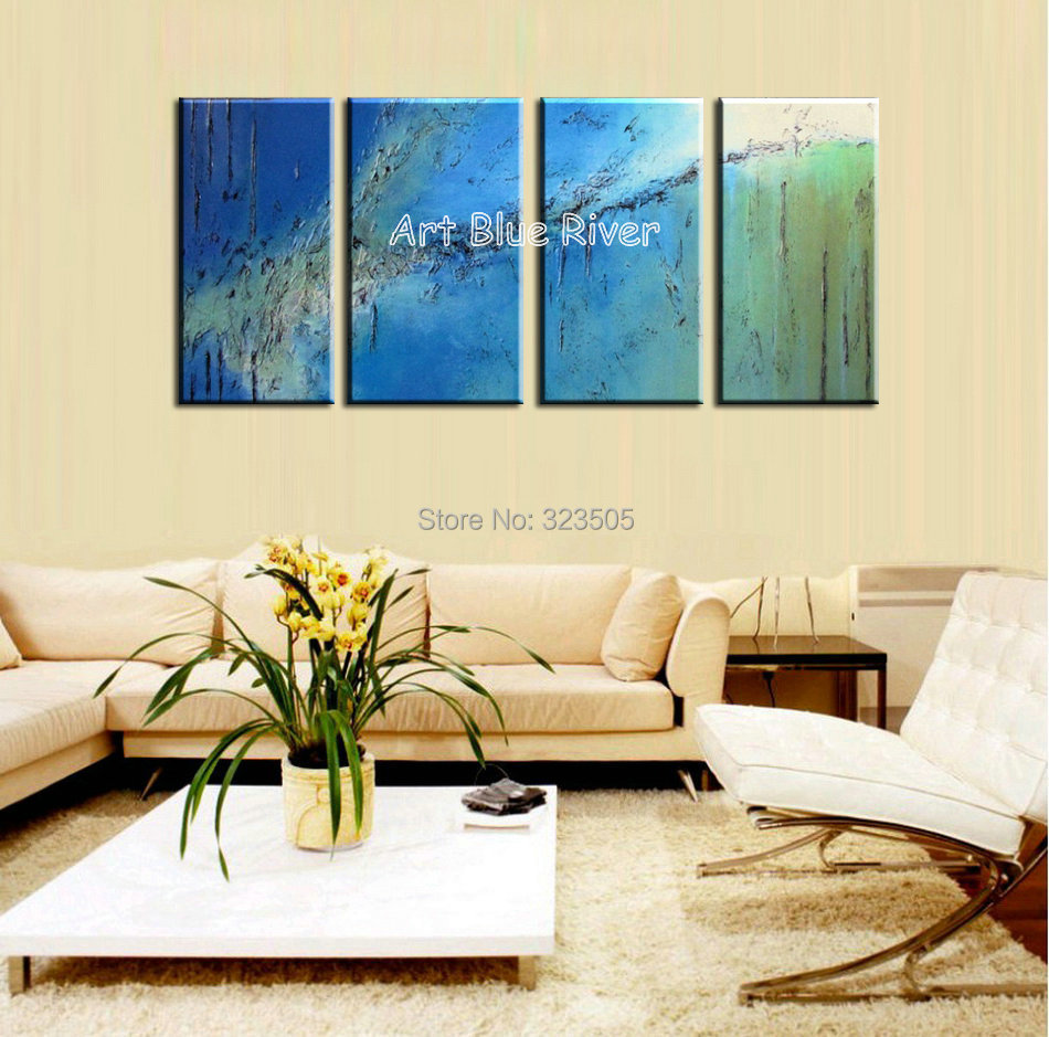 4 piece canvas wall art abstract modern decorative handmade blue ...
