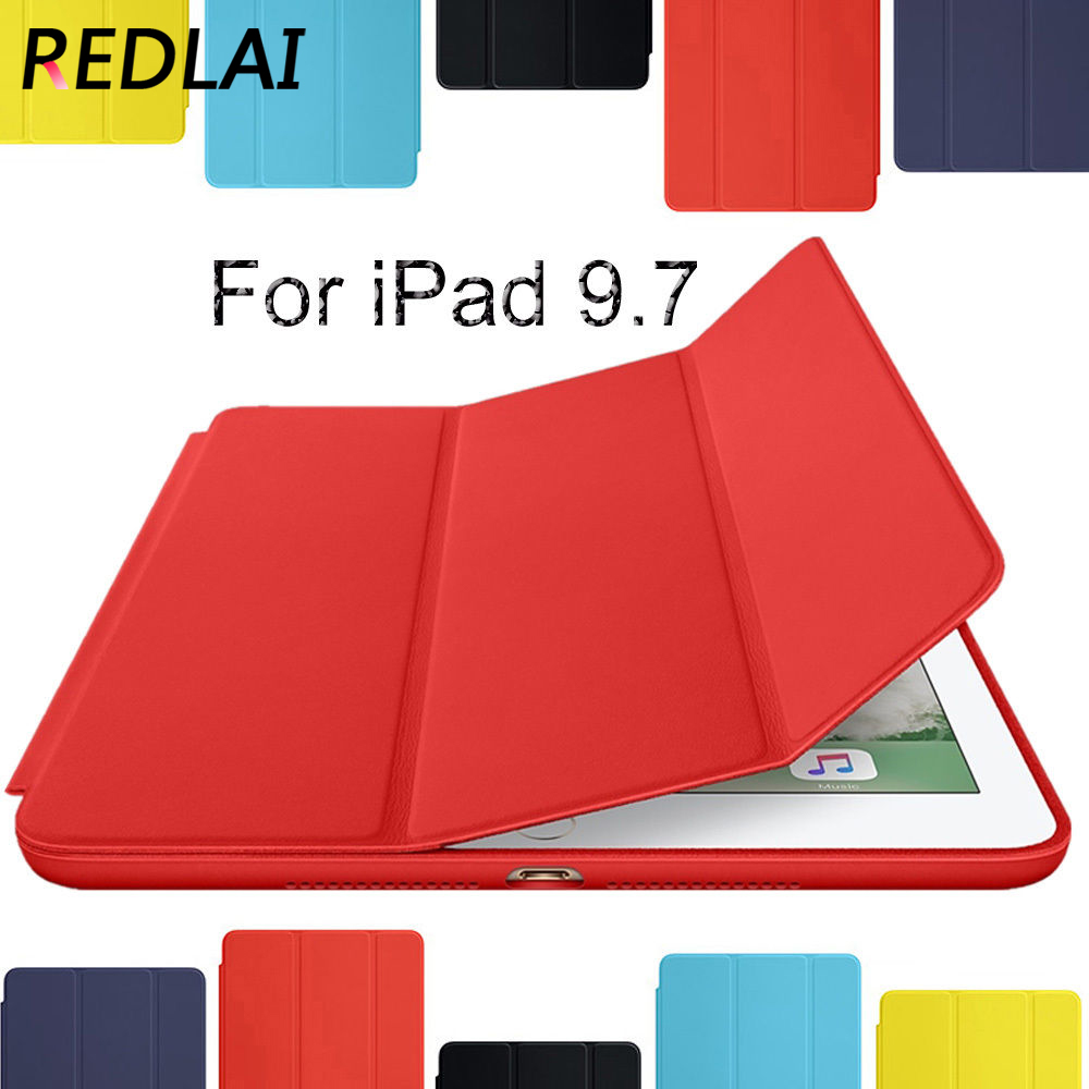 Redlai For New iPad 9.7 2017 case,Ultra Thin PU Leather Smart Cover with Hard Holder case for Apple iPad ( 2017 ) 9.7 INCH back shell for new ipad 9 7 2017 genuine leather cover case for new ipad 9 7 inch a1822 a1823 ultra thin slim case protector