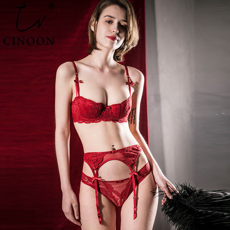 CINOON Sexy Mousse Plus Size Bra Set Embroidery Half Cup Lingerie Temptation Bra +panties +Garters Set 3 Pieces Underwear Set