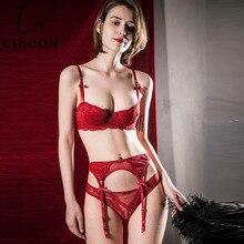 Cinoon sexy mousse plus size sutiã conjunto bordado meia xícara lingerie tentação sutiã + calcinha liga conjunto 3 peças conjunto de roupa interior