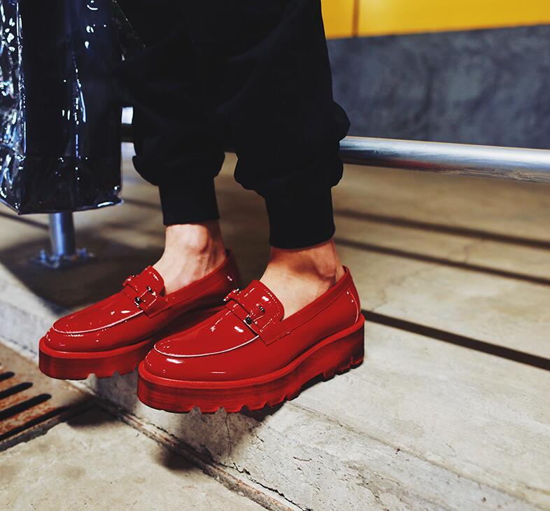 Croissante 5 Mocassin forme rouge Mocassins De Sport Plate Slip Mâle Cm Hommes Gommino Hauteur En Appartements Noir Véritable Chaussures Cuir on Brevet Bxq67qZUw