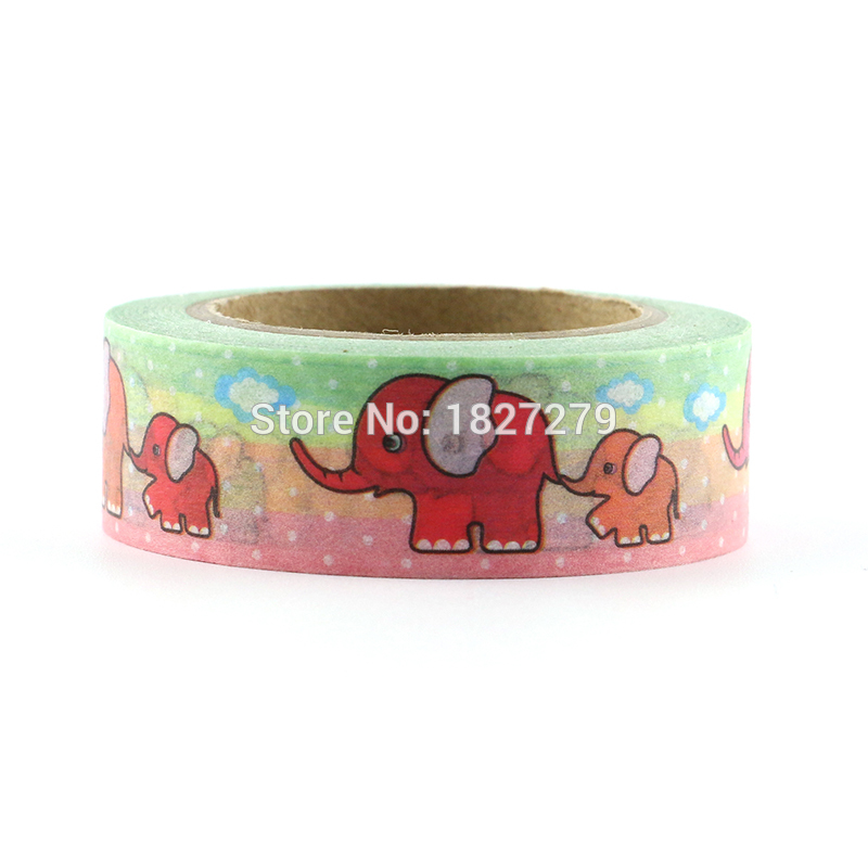 1 Pcs New Diy Cute Cartoon Elephant Washi Tape Sticker Paper For Scrapbooking Decoration Material Escolar Masking Tape in Office Adhesive Tape from Office School Supplies