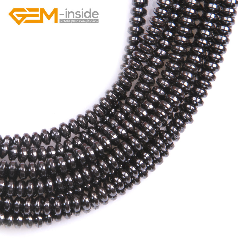 "Natural Black Hematite Rondelle Spacer Beads 15/"" No magnetic for Jewelry Making"