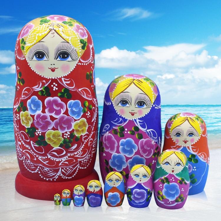 10pcs/ Set Russian Matryoshka Doll Russian Nesting Dolls Baby Toy Girl Doll Kid Gift Home Decoration