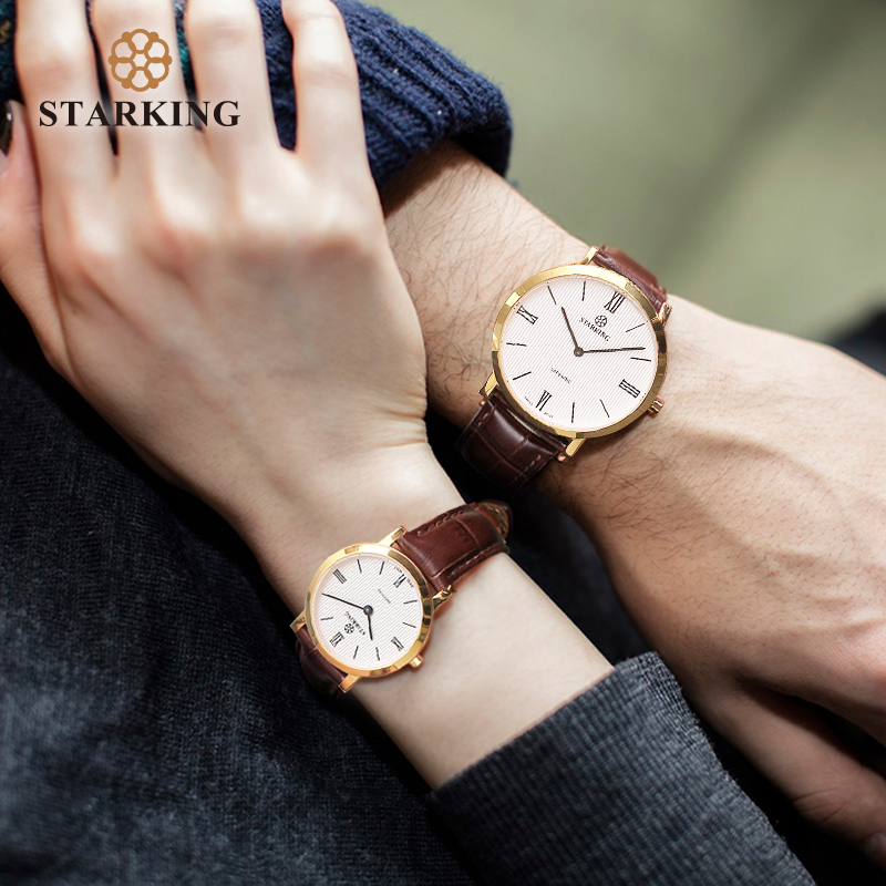 STARKING Couple Watches Ultra-Thin 6mm Man Women Quartz Wristwatch Japan Movt Sapphire Crystal Leather Belt Lover watches Clock STARKING Couple Watches Ultra-Thin 6mm Man Women Quartz Wristwatch Japan Movt Sapphire Crystal Leather Belt Lover watches Clock
