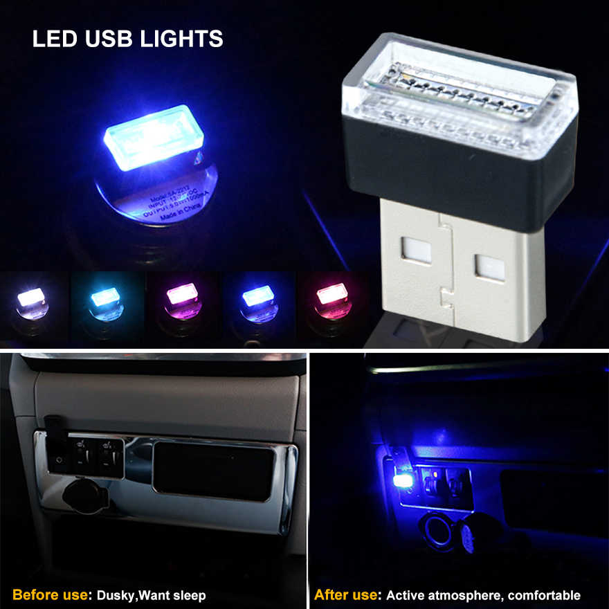 Foxcncar LED Car USB Lights Auto Interior Lamp 5V white/blue/red/pink car  accessories For bmw peugeot USB Plug Play night light