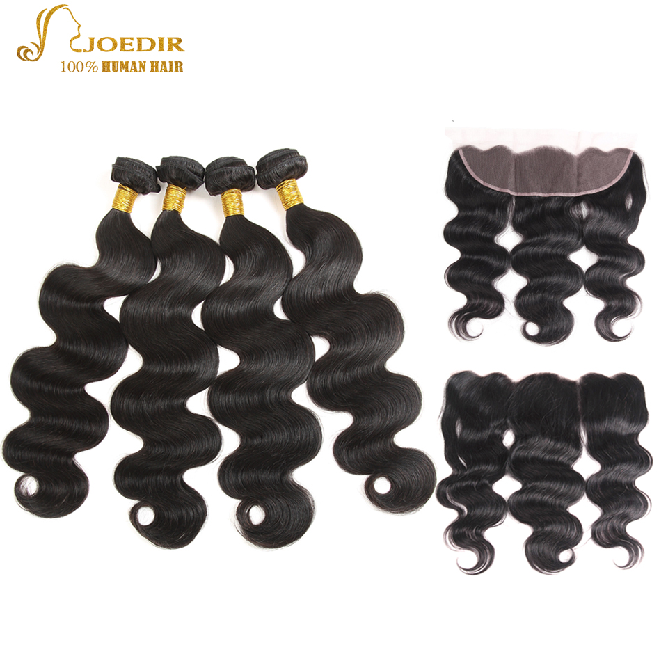 Joedir Buy 4 Bundles Get 1 Free Closure Malaysian Human Hair Extention Natural Color Body Wave 4 Bundles With 13*4 Lace Closure
