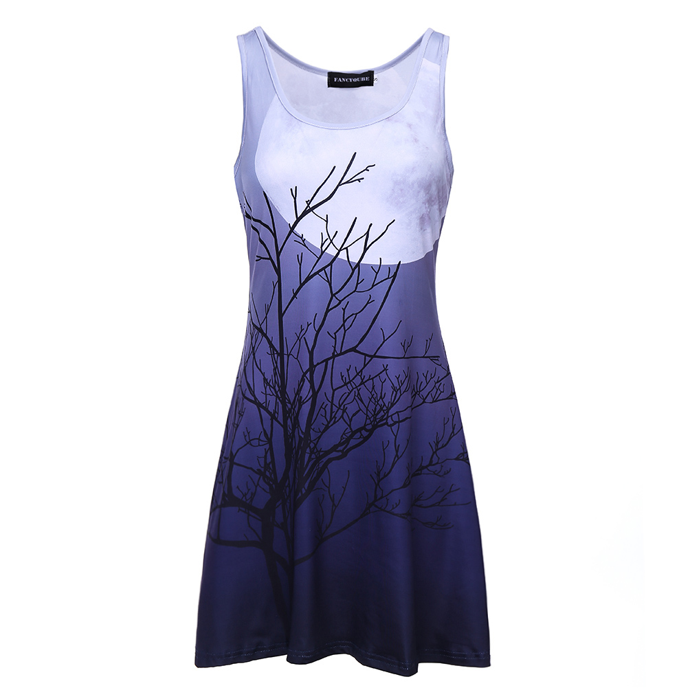 The Moon Light TREE Galaxy Vest Dress Sleeve O Neck Casual Party Dresses Summer Style Sexy Womens Clothing 3D Printed With