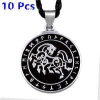 Wholesale 10 Pcs Viking Horse Rune Warrior ODIN'S Sleipnir Runic Norse Amulet Mens Boys Pewter Pendant Necklace Jewelry WLP324