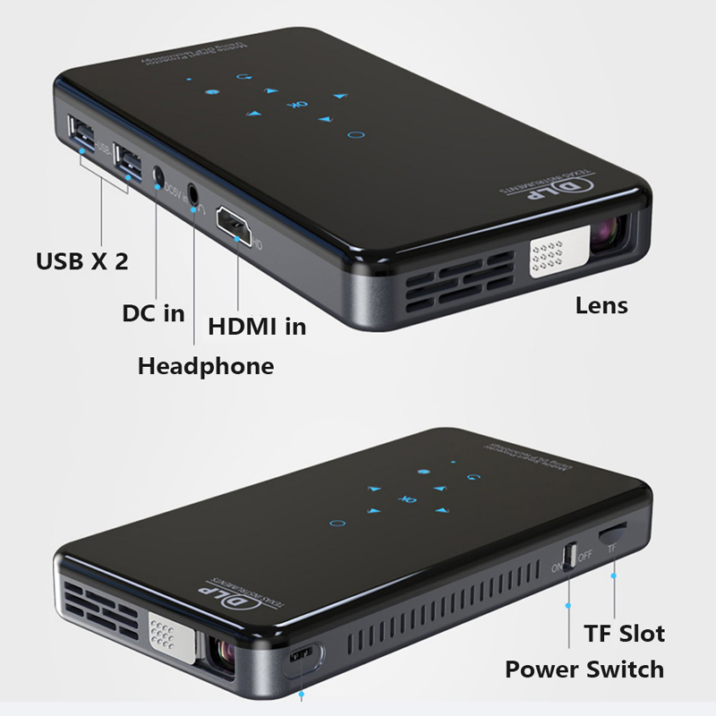 Smartidea x2 projetor dlp hd portátil, android 7.1, wifi, bluetooth 4.1, bolso, hd, beamer miracast airplay-2