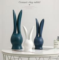 3pcs ceramic white EASTER rabbit home decor craft room BUNNY Bunnie handicraft ornament porcelain animal figurine decoration