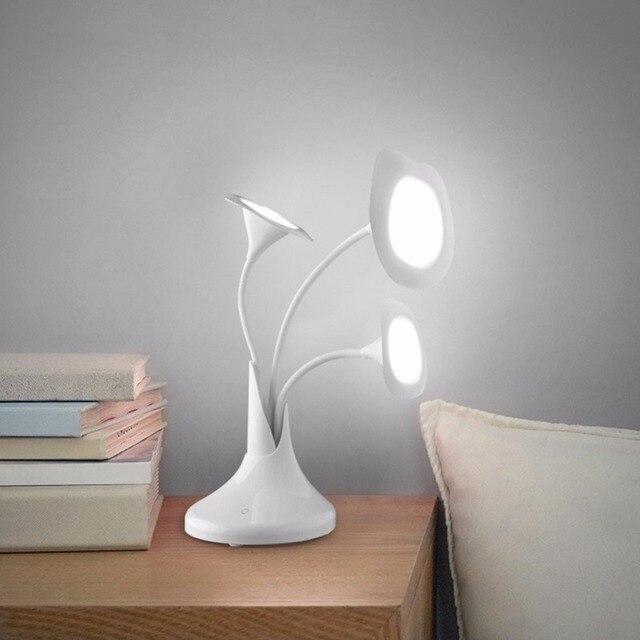 Art Flower Touch Desk Lamp Morning Glory new Office Table Lighting Eye Protection Desk Lamps  3 Flower  Recharging LED Light