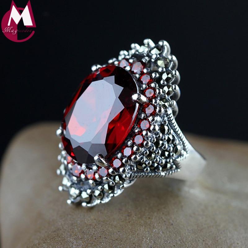 高級18*14大きな宝石宝飾品天然赤ガーネットウェディングリング用女性パンクパーティー婚約925スターリングシルバーリングSR68  グループ上の ジュエリー & アクセサリー からの 指輪 の中 1