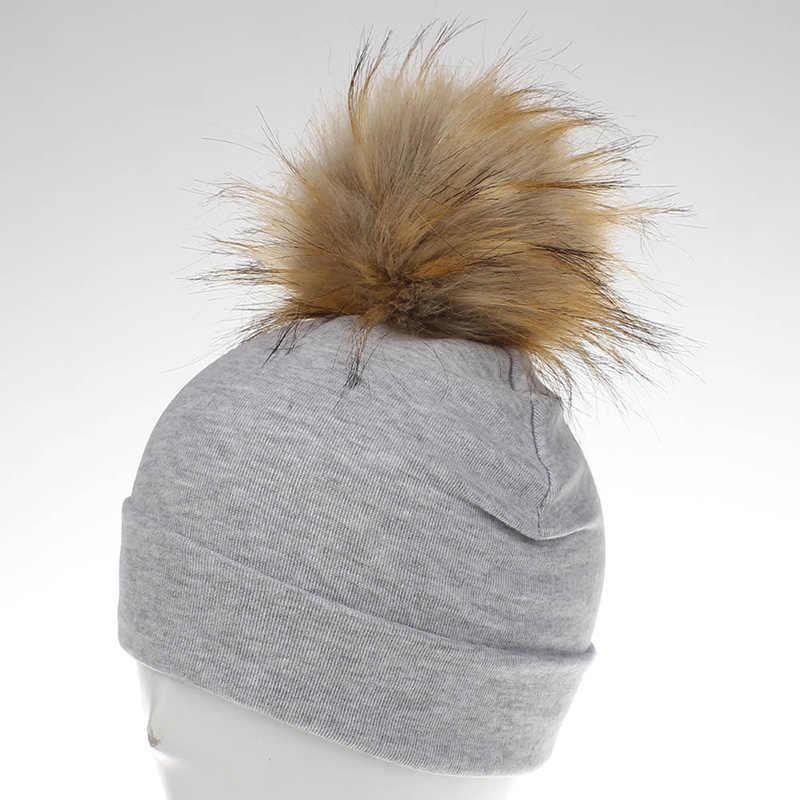 2fe0685cfae ... Baby Hat Crochet Faux Fur Baby Cap Cotton Pompom Bobble Hat For Kids  Winter Children Girl ...