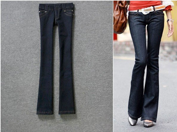 97efc9d2fb5e6 2013 New Low Waist Boot Cut Women Jeans Black Blue Elastic Denim Pants  Sheath Slim Trousers Free Shipping