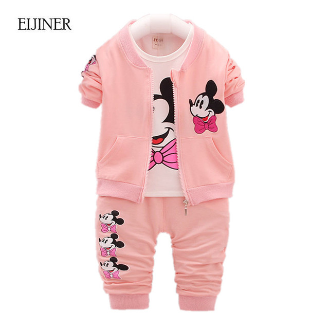 3pcs Baby Girl Clothing Set Spring Autumn 2017 New Girls Clothes Set Cartoon Children Clothing Kids Clothes Toddler Clothing