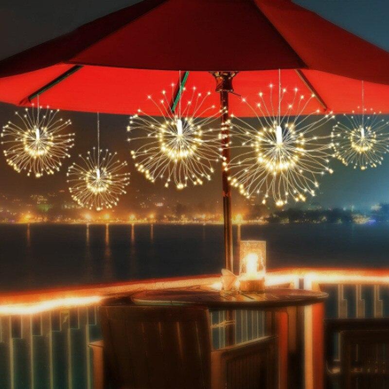 DIY Fireworks Solar String Lights For Garden Decoration Bouquet LED String Christmas Festive Fairy Lights Outdoor Solar Lamps