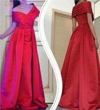 CYF102 Arabisch Weg Von Der Schulter Lange Abendkleider Rot Smaragdgrünen Satin Eine Linie V-ausschnitt Abendkleid 2016 Formales Partei-kleid