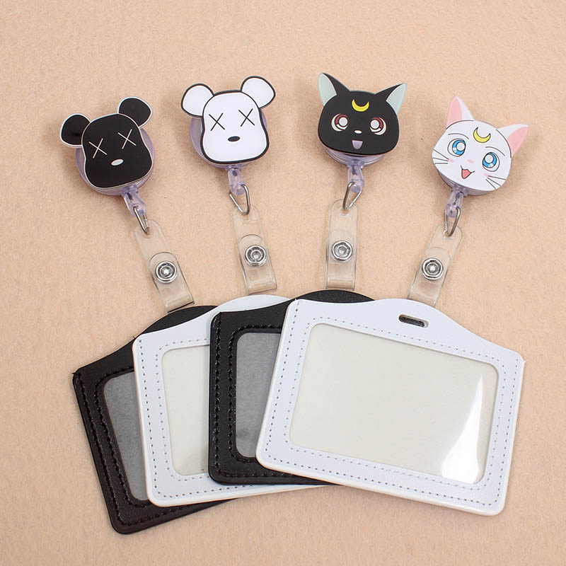 Moon Cat & Bear Card Case Holder Bank Credit Card Holders Card Bus ID Holders Identity Badge With Cartoon Retractable Reel