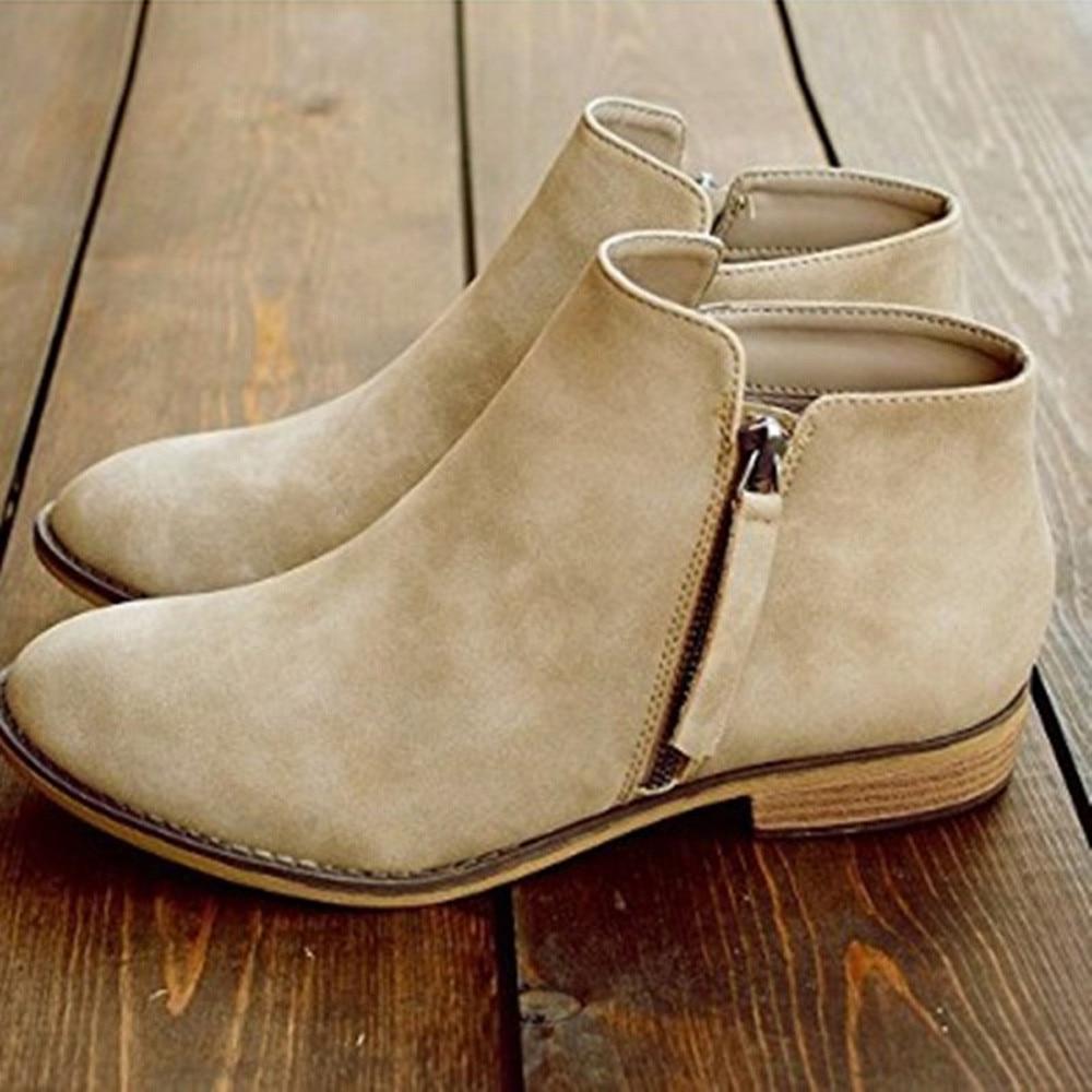 Parti Casual 45 Femmes Suédé Plat Chaussures Mode Glissière Dames Cheville Bottes À Épais En Pointu 34 Printemps Taille Cuir Khaki Talon tSZwnq1