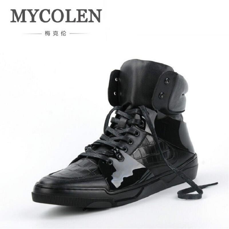 MYCOLEN Genuine Leather Winter Men Shoes Brand Handmade Black Men Boots Comfort Lace-Up Winter Boots Men Winterschuhe Herren
