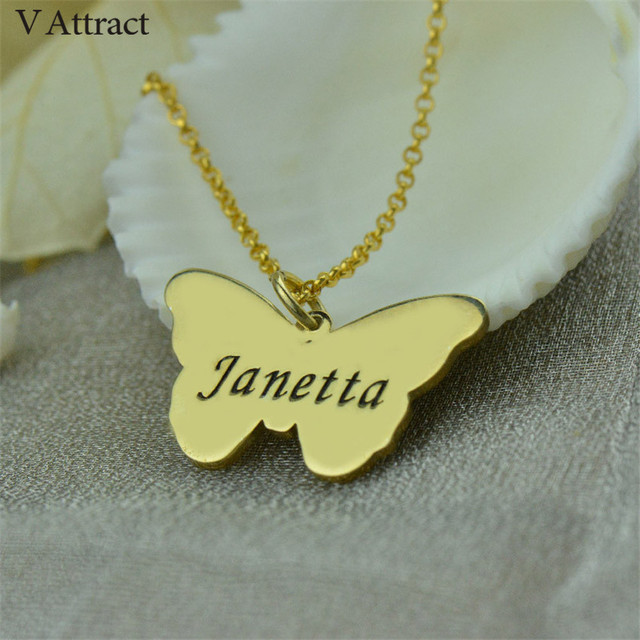 Engraved Butterfly Pendant Necklace Personalized Name Statement Necklaces Women Girl Baptism Gift Enjoy Freedom Custom Jewelry