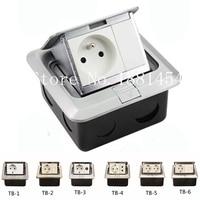 Multipurpose EU Floor Box Socket with RJ45/Network/tv/two pin/blank/RJ11/phone for architectural inside design 10pcs/set
