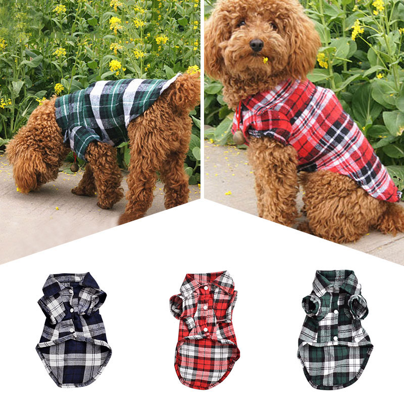 1pc Spring Summer Pet Dog Classic Plaid T-Shirts Clothing Dog Vest For Small Medium Pet Puppy Cat Clothes Drop Shipping