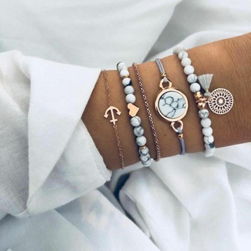 Комплект женских винтажных браслетов с подвесками, многослойный богемный ювелирный браслет с бусинами, черепаха, мрамор, лотос, сердце, 30 шт...