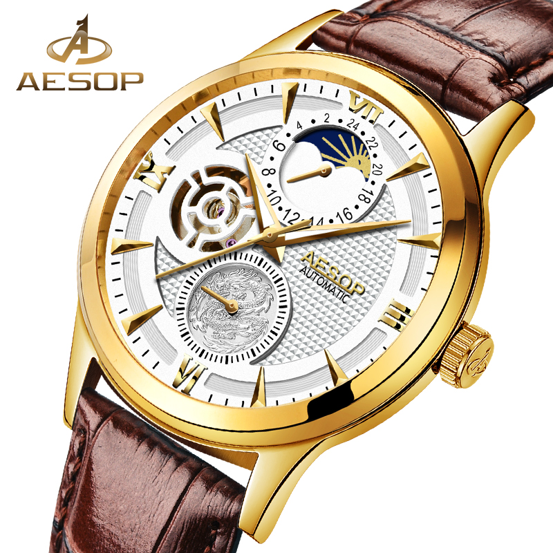 AESOP Fashion Gold Men Watch Men Automatic Mechanical Wristwatch Wrist Luminous Waterproof Male Clock Brand Relogio Masculino 46 fashion top brand watch men automatic mechanical wristwatch stainless steel waterproof luminous male clock relogio masculino 46