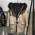 New Style Real Natural Wool Women Wide-Waisted Overcoat Genuine Fox Fur Lining Hooded Long Lady Outwear Beige Army Green Trench