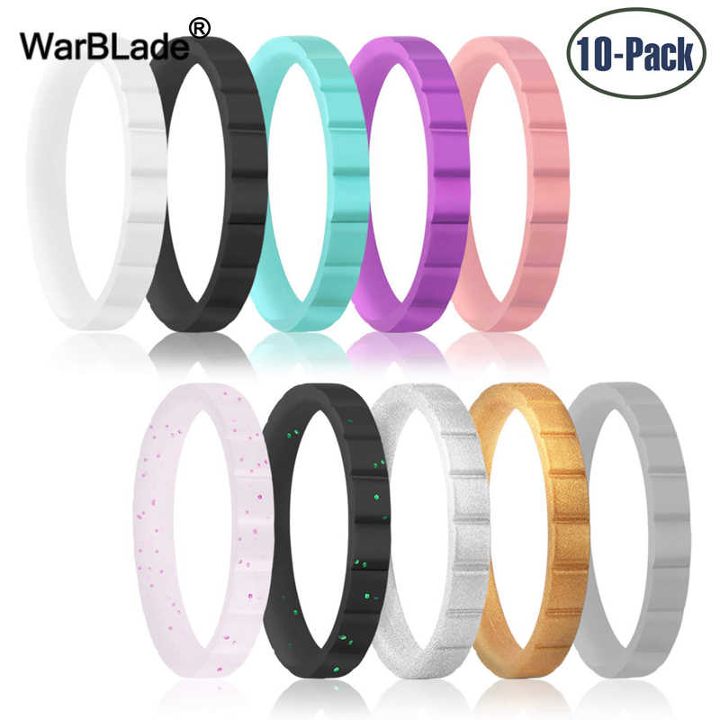 10pcs/set 3-8.7mm Hypoallergenic Crossfit Flexible Silicone Ring Men Women Sports Antibacterial Finger Ring Rubber Wedding Rings