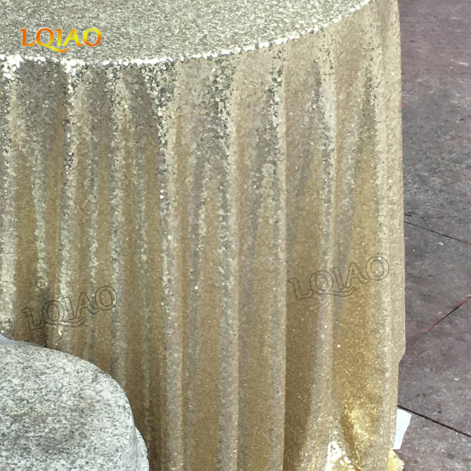 9a0cbde9706ee 10pcs120 Inch Light Gold Round Sequin Tablecloth for Wedding Party Cake  Dessert Table Exhibition Events Decoration Table Cloth-in Tablecloths from  Home ...