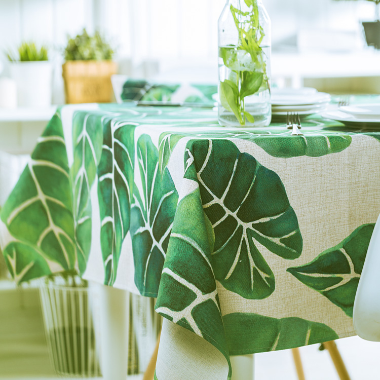 Square Tablecloths Pastoral Fresh Green Linen Thickened For Living Room Plant Coffee Table Restaurant Covers