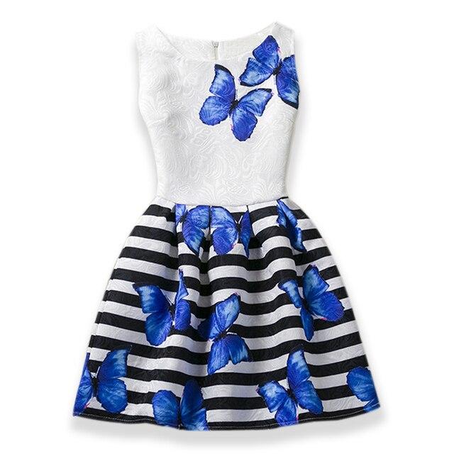 553e43597c3e 2019 Girls Dress Summer Butterfly Floral Print Teenagers Dresses for Girls  Designer Formal Party Kids Vestido
