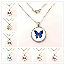 GDRGYB Butterfly necklace Glass Animal Holder Fashion Jewelry For Women Alloy 2019 New Fashion The necklace gdrgyb 2019 exquisite fashion i love daddy this much necklace men jewelry je suis un papa qui dechire necklace holder dad