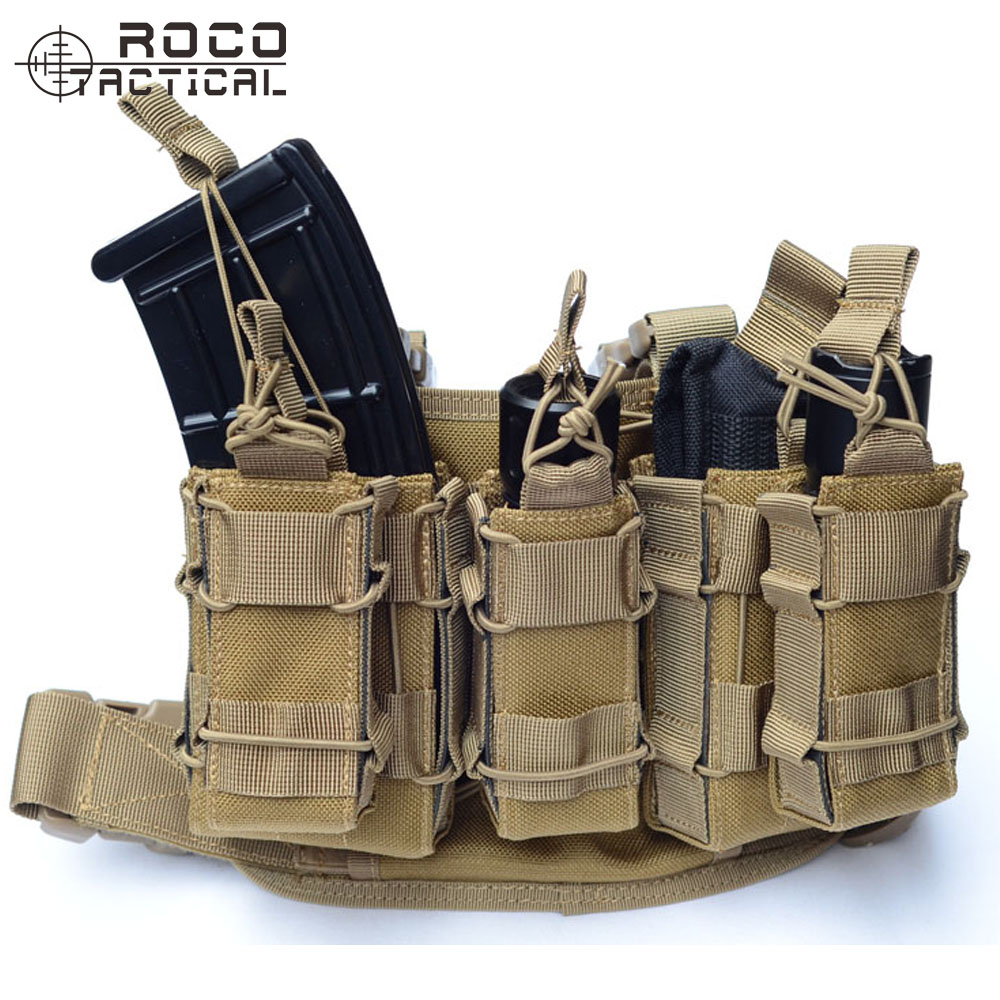 ROCOTACTICAL Military Drop Leg Bag Leg Rig with Attached Magazine Pouch & Torch Holder Leg Thigh Rig Holster Pistol Magazine military pistol drop leg thigh holster left right with belt hand gun quick release magazine pouch
