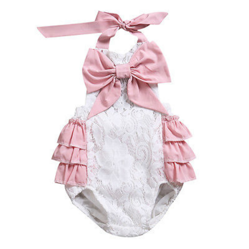 Sweet Infant Toddler Baby Girls Bowknot Floral Lace Halter Backless Cotton Ruffles Romper Kids Sunsuit Jumpsuit Outfits Clothes
