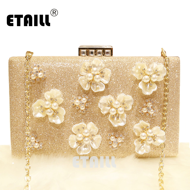 ETAILL Luxury Golden Crystal Pearl Flower Clutch Bags Bridal Wedding Lady Evening Bags Women Messenger Shoulder Bag with Chain long fashion crystal evening bags designer clutch famous brand women golden evening bags with chain women shoulder bag sc519