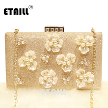 ETAILL Luxury Golden Crystal Preal Flower Clutch Bags Bridal Wedding Lady Evening Women Messenger Shoulder Bag with Chain