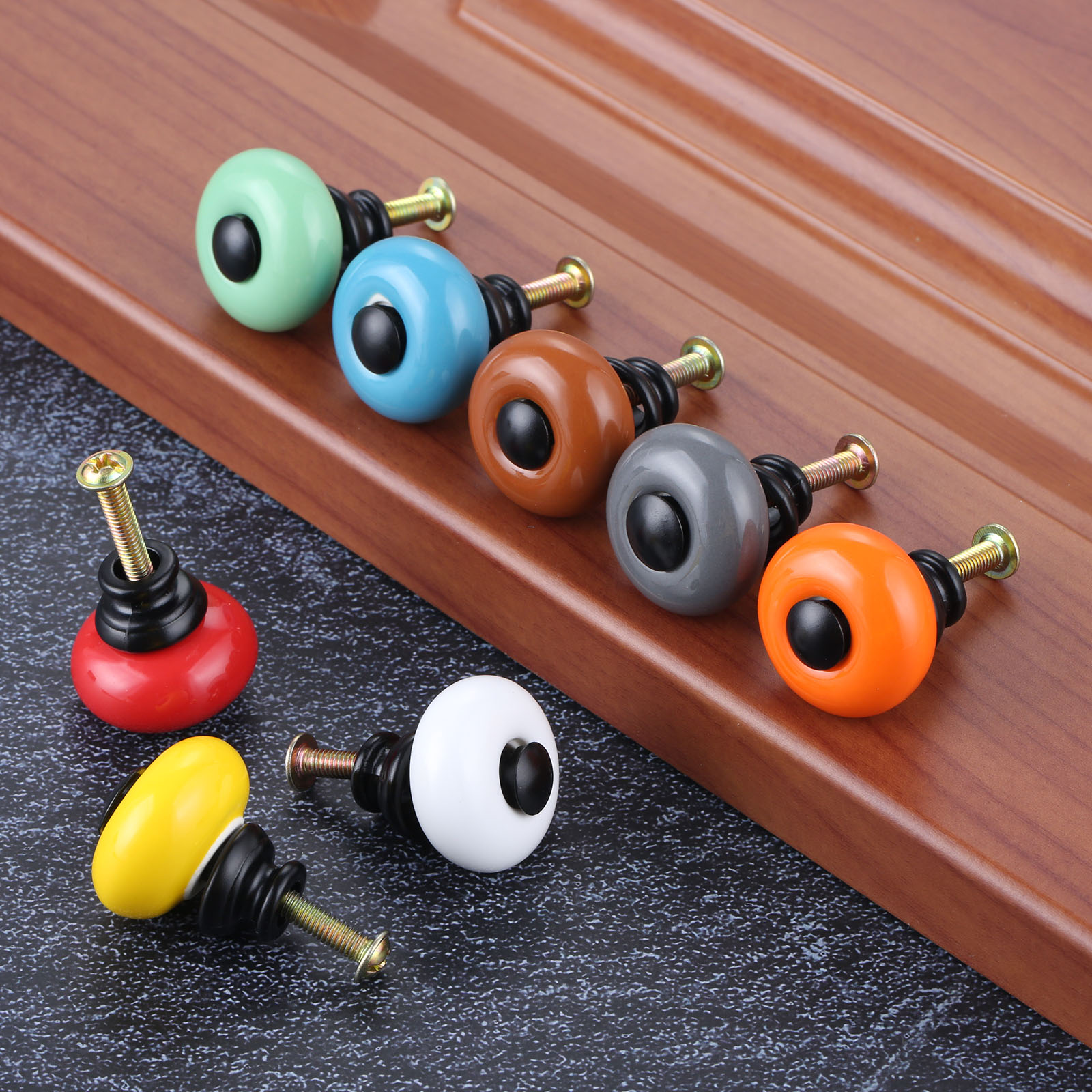Купить с кэшбэком DRELD Colorful Furniture Handles Ceramic Cabinet Knobs and Handles Cupboard Drawer Kitchen Door Pull Handles Furniture Fittings