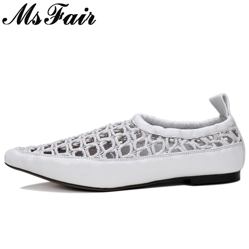 MsFair Pointed Toe Shallow Flats Shoes Woman Fashion Hollow Out Women Brand Flat Shoes Zapatos Mujer 2018 Solid Flat Shoes Women 2018 new arrival women flats shoes shallow flat heel hollow out flower shape nude shoes pointed toe shoes zapatos mujer
