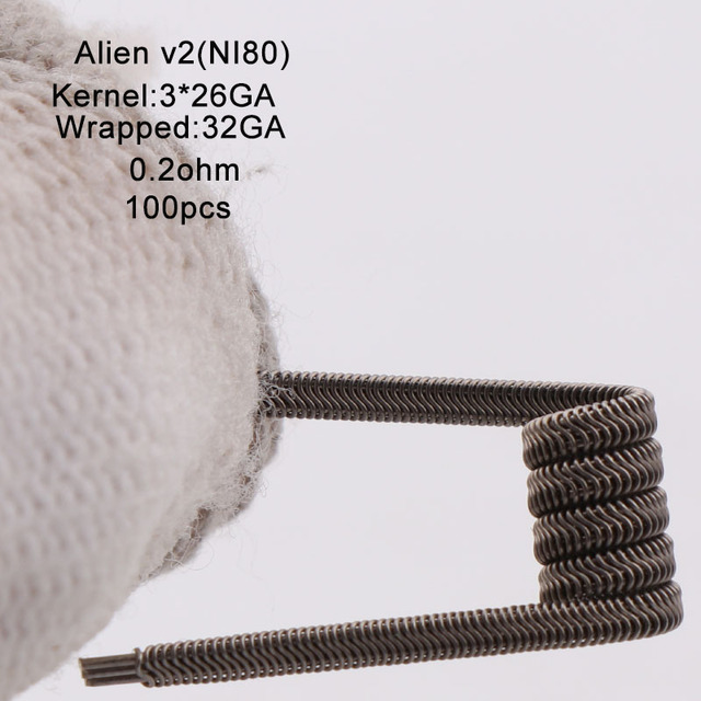 XFKM Ni80/A1/SS316 Alien v2 Coils For RDA RTA Atomizer Electronic Cigarette Vape Pen Accessory 100 Pieces/box Alien V2 Coil