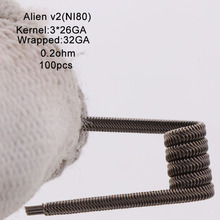 XFKM Ni80/A1/SS316 Alien v2 סלילי עבור RDA להרכבה עצמית מרסס סיגריה אלקטרונית Vape עט אבזר 100 יחידות\קופסא alien V2 סליל