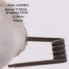 XFKM Ni80/A1/SS316 الغريبة v2 لفائف ل RDA تانك بخاخ RTA سيجارة إلكترونية أكسسوار القلم 100 قطعة/صندوق الغريبة V2 لفائف