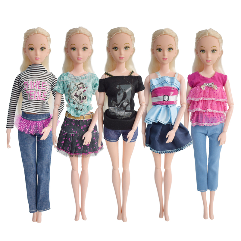 5 Sets of outfits fashion Style blending kinds beautiful dress for Barbie doll gift for children