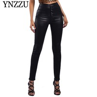 YNZZU European Winter Chic Snake Print PU Pencil Pants Women Casual High Waist Skinny Flocking Warm Leather Trousers Women YB274
