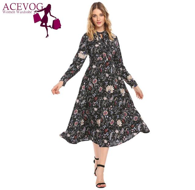 fe7f72a8c695 ACEVOG Vintage Style Women Dress Long Sleeve Spring Summer Dress for Lady  Button Down Belted Floral Printed Party Midi Dress