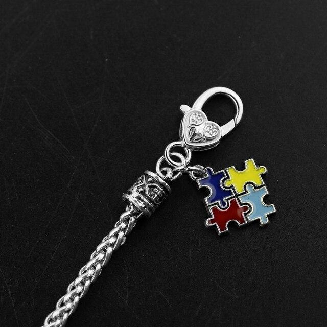 Autyzm układanka świadomości kolorowe Fashion Square emalia Charm bransoletka biżuteria przyjaźni dla kobiet i mężczyzn bransoletki 2017
