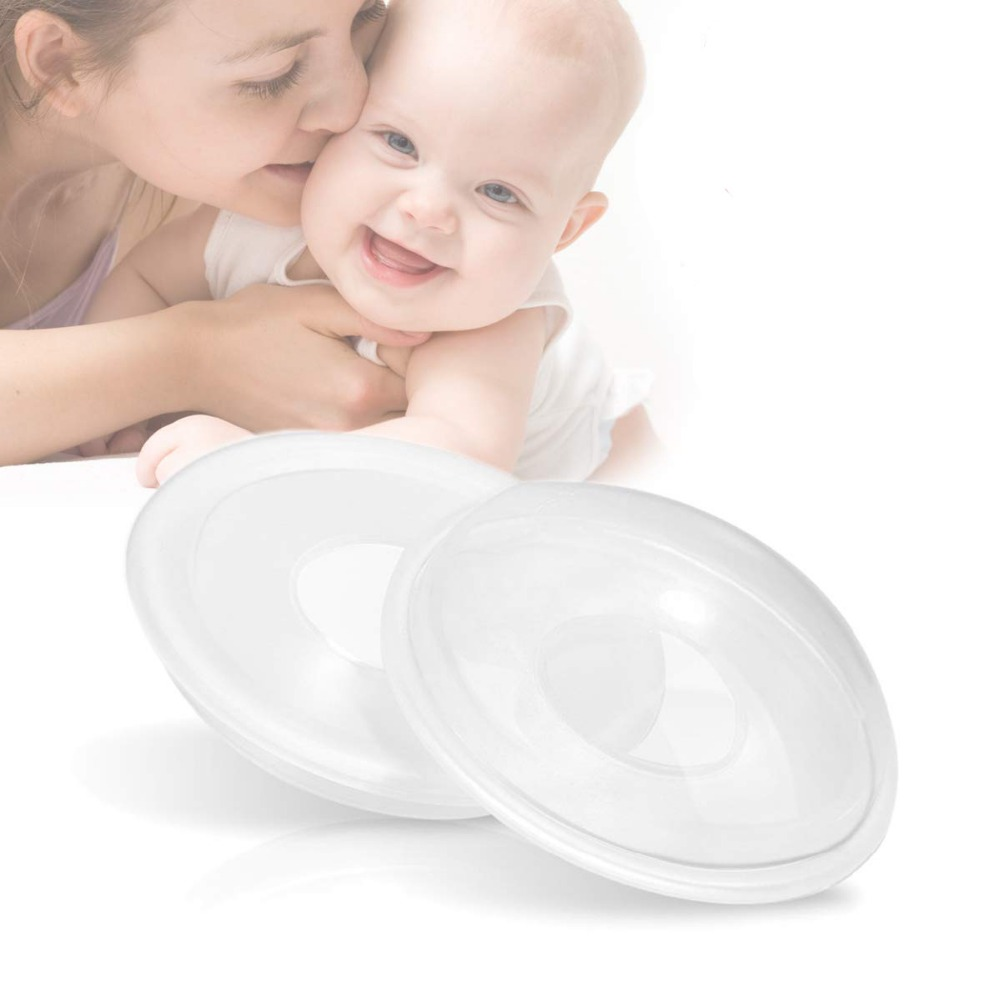 1/2 Pack Portable Breast Milk Saver Breast Milk Collector BPA-Free Flexible Silicone Breast Shield Manual Breast Pump
